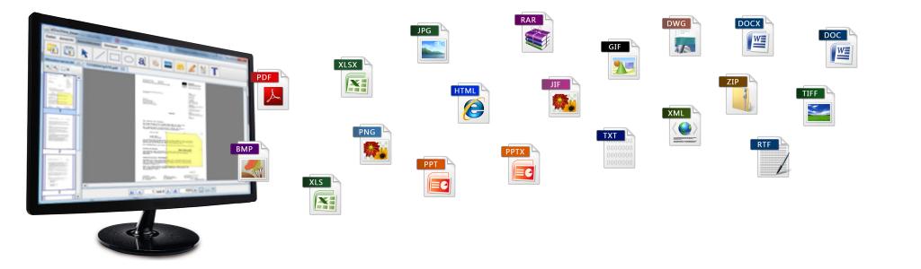 eDocView unterstützt eine Vielzahl von Raster-, PDF und Office-Formaten.