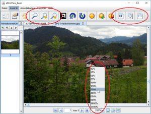 Verschiedene Möglichkeiten für Zoom von Dokumenten und das Anpassen der Anzeige an die Größe des Arbeitsbereichs.